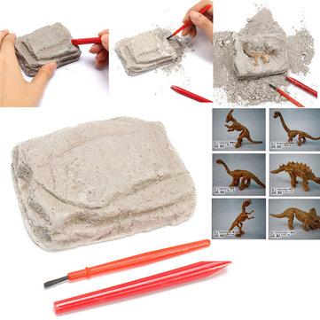 Dinosaur Fossils Excavation Kit Archaeology Dig Up History Skeleton Fun Kids Gift Toys