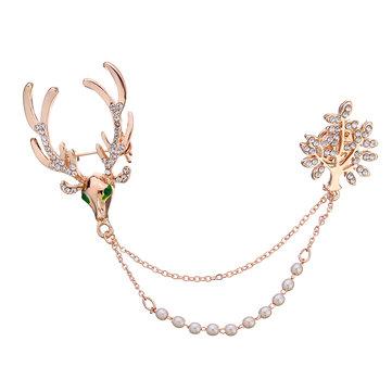Crystal Deer Green Eyes Tree Artificial Pearl Gift Christmas Brooches