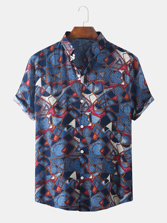 Buy Mens Ethnic Style Clan Printing Breathable Short Sleeve Casual Shirts with 5 on Gipsybee.com
