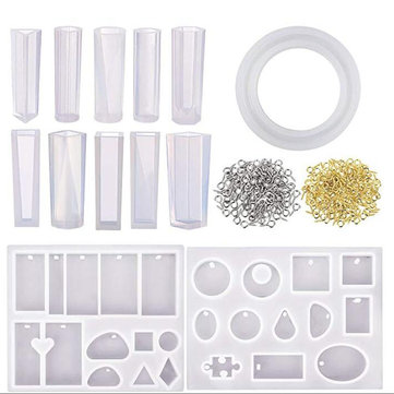 213Pcs Resin Casting Mold Kit Silicone For Necklace Jewelry Pendant Craft Making Tools