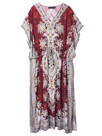 Bohemian Women Vintage Printed Drawstring Maxi Beach Dress
