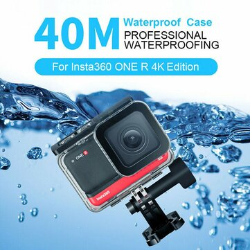 TELESIN 40M Waterproof Protective Housing Underwater Diving Case Protector for Insta360 ONE R 4K FPV Camera
