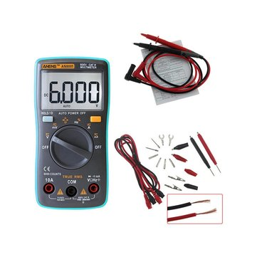 ANENG AN8001 Professional True RMS Digital Multimeter 6000 Counts Backlight AC/DC Ammeter Voltmeter Resistance Capacitance Frequency Tester + Test Lead Set