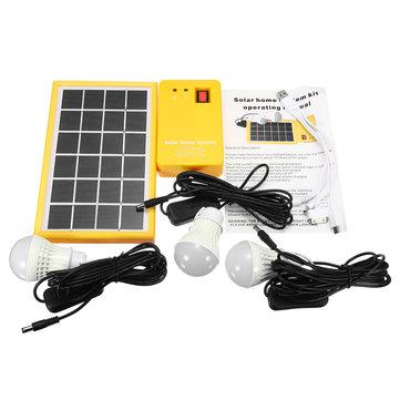 ソーラーパネルパネルジェネレータキット5V 3つのLED電球ライト付きUSB充電器のホームシステム