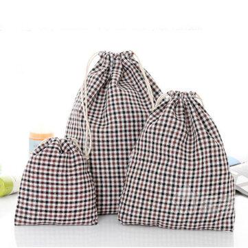 Cordón de lino de algodón Grid Stripe regalo Bolsa Bolsas de joyería Bolsa Boda Decoración de almacenamiento Bolsa