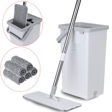 Flat Squeeze Mop Bucket Free Washing Self Cleaning Microfiber Pads Cleaner Home Cleaning Tools Set for sale in Litecoin with Fast and Free Shipping on Gipsybee.com