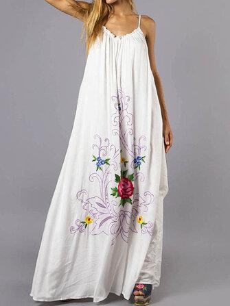 Women Bohemian Floral Sleeveless Swing Hem A Line Long Maxi Dress