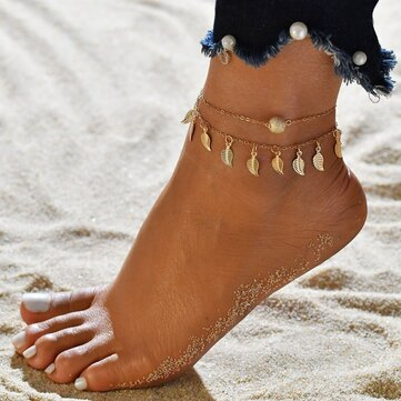 Vintage Tassels Leaves Anklets Alloy Round Bead Double Layer Women Anklet