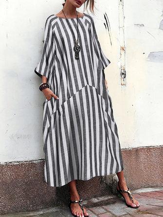 Kadın 3/4 Sleeve O Boyun Casual Gevşek Çizgili Uzun Maxi Elbise