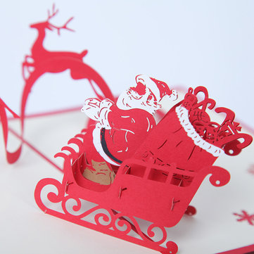Christmas Santa The Reindeer 3d Pop Up Greeting Card Christmas Gifts Party Greeting Card