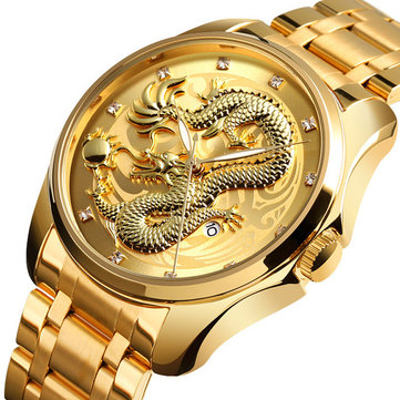 Skmei 9193 Luxury Chinese Dragon Pattern Golden Waterproof Men Watch Quartz Watch Sale Banggood Com