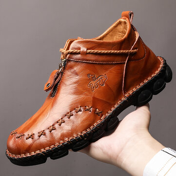 Menico Men Hand Stitching Leather Wear Resistant Large Size Soft Sole Casual Ankle Boots