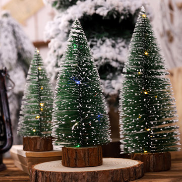 Loskii Christmas Tree Ornament Pine Needle Tree With Lights Party Table Desktop Christmas Decorations for Home Gift Christmas Present