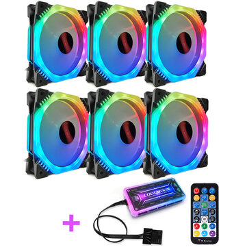 (CZ)Coolmoon 6PCS 5V 3Pin Adjustable RGB LED Light Computer Case PC Cooling Fan with Remote