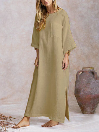 Women Loose Batwing Long Shirt Dress Split Hem Jumpers Dress Kaftan