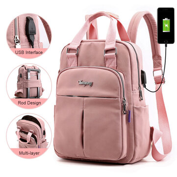 Women Fashion Nylon Waterproof Casual Patchwork Backpack With USB Charging Port For Outdoor School