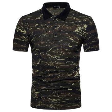 Outdoor Full-Print Men's Shirt Summer Camouflage Short-Sleeved Lapel Fishing Shirt cloth