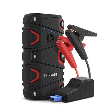 BlitzWolf BW JS1 Portable Car Jump Starter 12000mAh 800A Emergency Battery Booster Power Bank Waterproof with LED Flashlight QC3.0 USB Charging Port