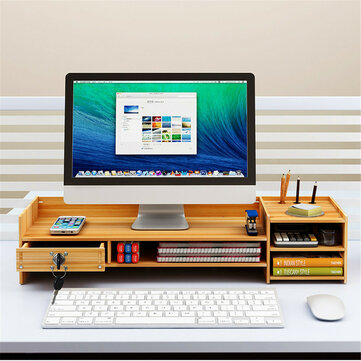 Multi_function Desktop Monitor Stand Computer Laptop Screen Riser Wood Shelf Desk Storage Holder with Lock