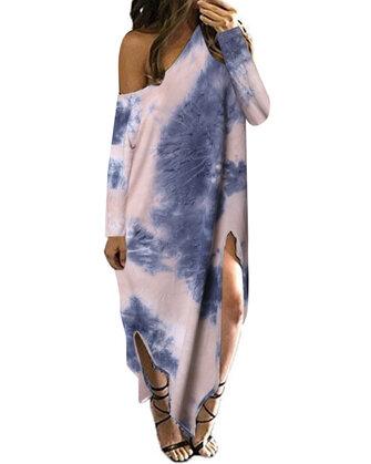 Womens Long Sleeve Off Shoulder Side Split Round Neck Print Long Maxi Dress