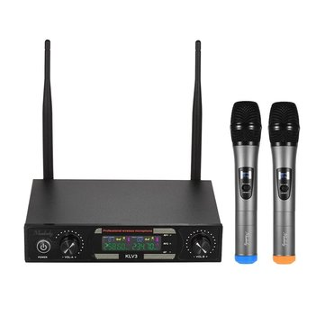 BAOBAOMI MU-878-1 Wireless Microphones Set with 1 Receiver 2 Handheld Microphone Color Screen for DJ Party Karaoke Business Meeting