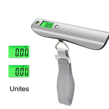50kg/110Lbs LCD Display Luggage Scale  Stainless Steel Travel Weight Scale Portable Digital Luggage Scale with 1M Tape Measure Spirit Level
