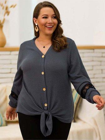 Plus Size Women V-neck Lace Splice Blouse Casual Knit Sweaters
