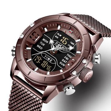 NAVIFORCE 9153 Waterproof Dual Display Watch Calendar Full Steel Business Men Digital Watch