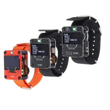 DSTIKE Orange / Black Deauther Wristband / Deauther Perhiasan Smart Watch NodeMCU ESP8266 Programmable WiFi Development Board untuk Arduino