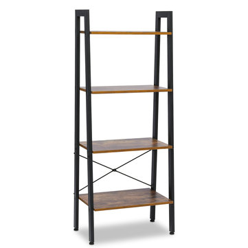 Vintage Wooden 4-Tier Bookshelf Industrial Ladder Shelf Rustic Storage Rack with Wood Look and Metal Frame