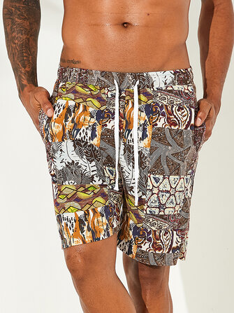 Buy Mens Holiday Colorful Printing Elastic Waist Loose Fit Beach Summer Shorts with Litecoins with Free Shipping on Gipsybee.com