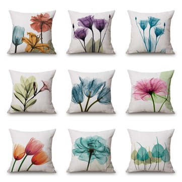 Ink Painting Flowers Cotton Linen Pillow Case Tulips Sofa Cushion Cover 45x45cm