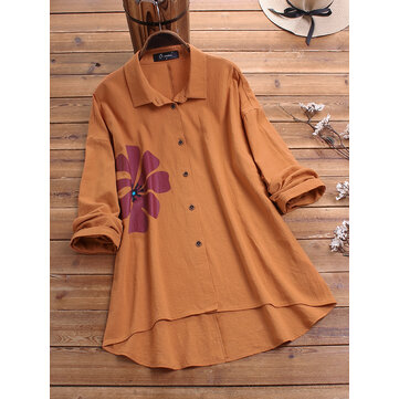 Plus Size Flower Print Lapel Long Sleeve Cotton Shirts
