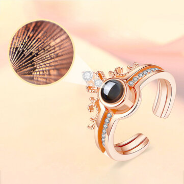 Trendy 100 Bahasa I Love You Projection Ring Finger Ring Terbuka Dilepas Perhiasan Pasangan
