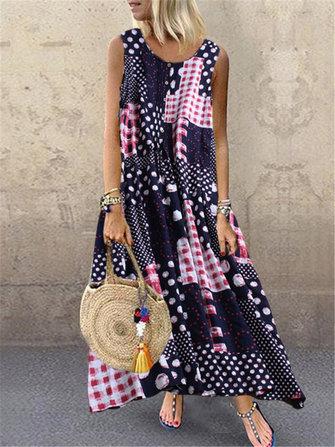 Sleeveless Polka Dot Plaid Maxi Dress for Women