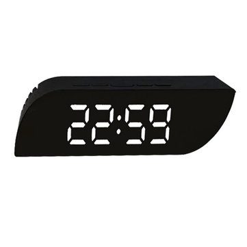 Digital LED Trapezoidal Mirror Alarm Clock Time Date Temperature Cyclically Display Calendar Snooze Clock Office Home Decorations
