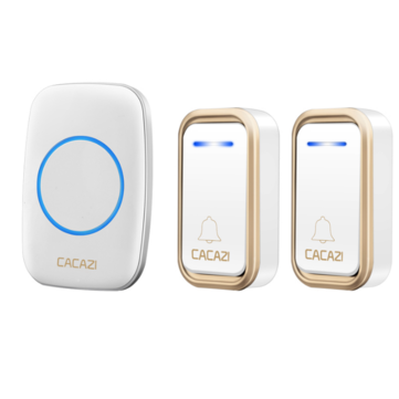 CACAZI A10F Waterproof Wireless Doorbell 300M Remote Door Bell Chime 220V 2 Button 1 Receiver