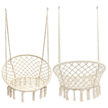 47.2inch Portable Hanging Cotton Rope Macrame Swing Hammock Chairs Room Decoration Art 120kg