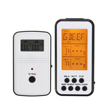 Wireless LCD Digital Food Thermometer BBQ Cooking 60m 200Ft Range w/ 2 Probes