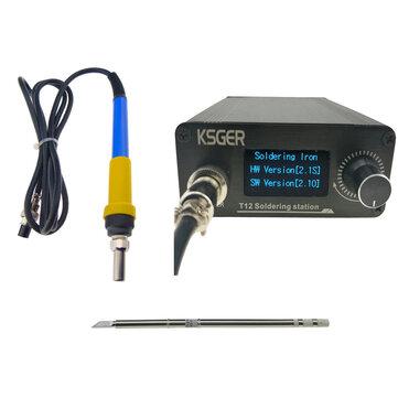 V2.1S T12 Digital Pengontrol Suhu Stasiun Solder Listrik Besi Solder Tips T12-K + 907 Menangani