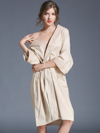 Plus Size Cotton Half Sleeve Kimono Robe Cotton Nightgown