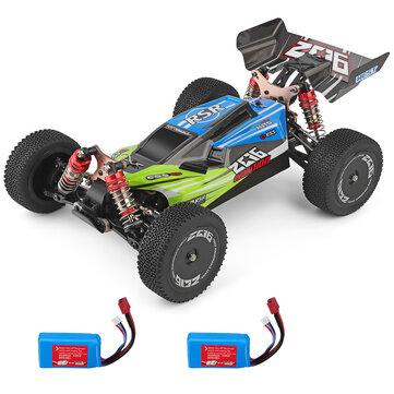 Wltoys 144001 1/14 2.4G 4WD Model Balap Mobil RC Kecepatan Tinggi 60km / h Dua Baterai