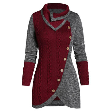 Women Irregular Patchwork Button Knit Sweaters