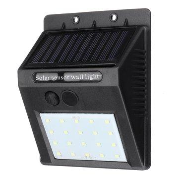 20 LEDソーラーパワーウォールライト屋外防水光制御ガーデンセキュリティランプ