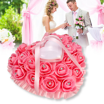 Buy  Rose Wedding Favors Heart Shape Pillow Box Cushion Rhinestone Gift Ring  with Litecoins with Free Shipping on Gipsybee.com