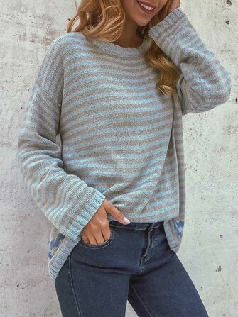 Women Casual Striped Crew Neck Long Sleeve Sweaters