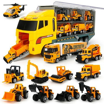 6/12 PCS 11 In 1 Diecast Construction Truck Vehicle Car Model Toy Set Play Vehicles in Carrier Truck