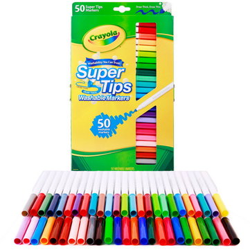 Crayola 50 Count Washable Super Tips Markers 50 Pcs/Set Watercolor Painting Pens Colored Drawing Marker Pen for Students Art Supplies