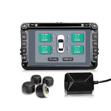 Car TPMS Android Tire Pressure Monitoring With 4 Internal Sensors For DVD Player Security Alarm System