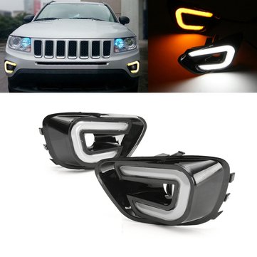 Buy White+Yellow LED Daytime Running Lights DRL Turn Signal Lamps Pair For Jeep Compass 2011-2016  with Litecoins with Free Shipping on Gipsybee.com
